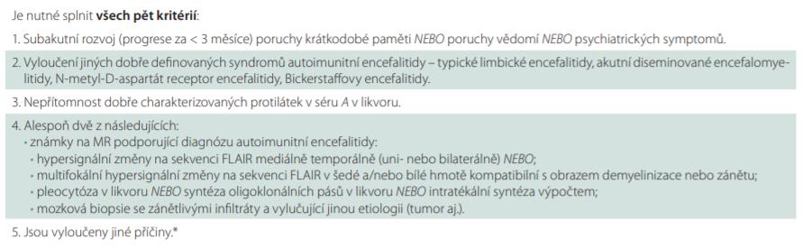 Diagnostická kritéria pro pravděpodobnou autoimunitní encefalitidu s negativitou neurálních protilátek, volně dle [12].