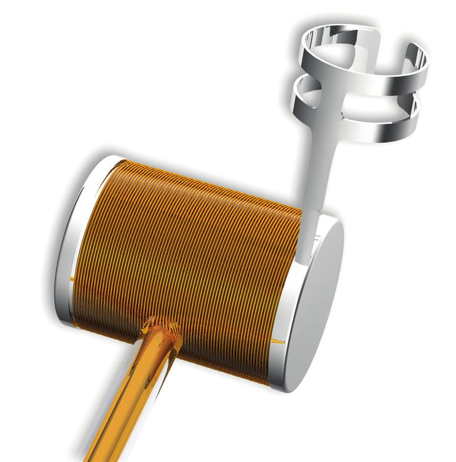 Aktuator aktivního středoušního implantátu Vibrant SoundBridge™ společnosti MED-EL. V tomto konkrétním případě se aktuator nazývá Floating Mass Transducer™ (FMT) a jde o miniaturní elektromagnet. Pomocí úchytky je připevněn na středoušní kůstky, anebo je vsunut do okrouhlého okénka tak, aby byl v kontaktu s jeho membránou. (Zdroj: MED-EL, Innsbruck, Rakousko.)