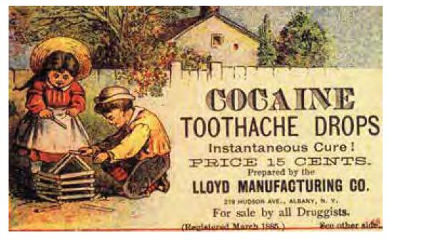Kokainové kapky pro děti při bolestech zubů. Okolo r. 1885. Zdroj: Wikimedia Commons (CC BY 4.0)