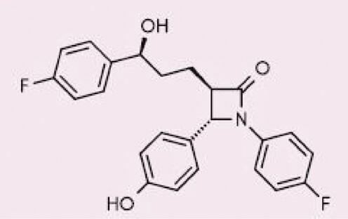 Chemická struktura ezetimibu, upraveno dle (10)