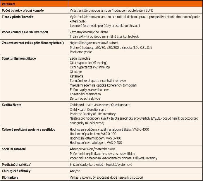 Parametry navrhované pro hodnocení aktivity uveitidy asociované s JIA (vypracováno skupinou MIWGUC [74, 153]).