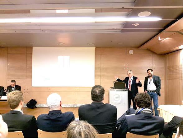 MUDr. Ondřej Trojan, Ph.D., FECSM (předseda ČSSM) a prof. PhDr. Petr Weiss (místopředseda ČSSM) představují Prahu coby kandidátní město pro konání kongresu ESSM 2021<br> Fig. 3. MUDr. Ondřej Trojan, Ph.D., FECSM (president of ČSSM) and prof. PhDr. Petr Weiss (vice‑president of ČSSM) presenting Prague as a candidate city for ESSM 2021 congress