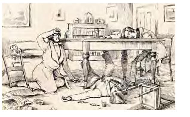 """""""Účinek tekutého chloroformu na Sira J. Y. Simpsona a jeho přátele. Rozbitá sklenička použitá během experimentu leží na podlaze."""" Zdroj: Wikimedia Commons (CC BY 4.0)"""
