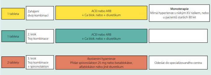 Schéma 1. Návrh vedení antihypertenzní léčby podle doporučených postupů z r. 2018 (upraveno podle citace 11)