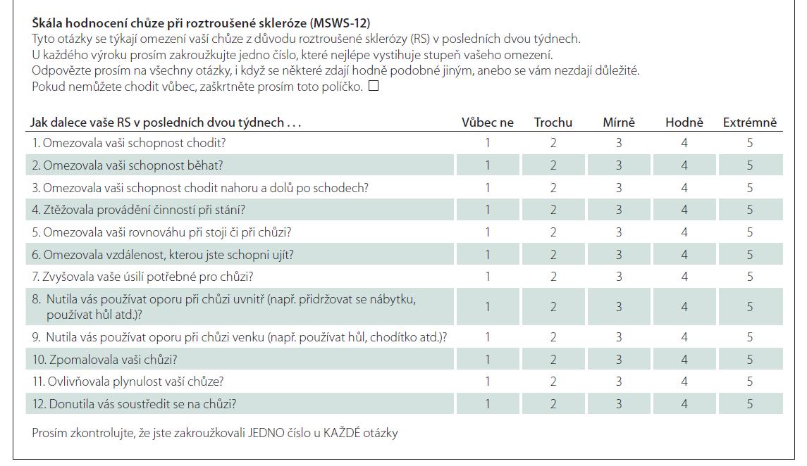 Dotazník Multiple Sclerosis Walking Scale – česká verze.