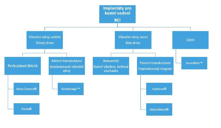 Schéma 1 Klasifikace implantátů pro kostní vedení (BCI). Podrobnosti v textu.