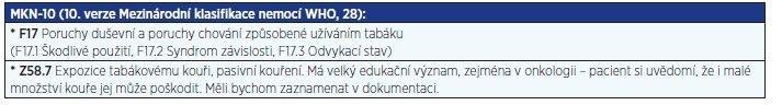 Diagnózy F17 (závislost na tabáku) a Z58.7 (pasivní kouření)