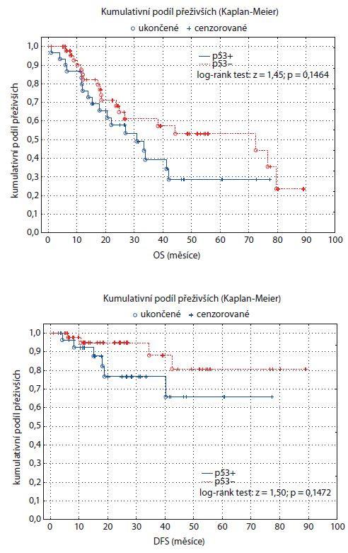 Graf 3, 4. Kaplan-Meierův odhad funkce přežití pro dvě skupiny pacientů rozlišených podle statusu p53. OS – celkové přežití, DFS – přežití bez nemoci