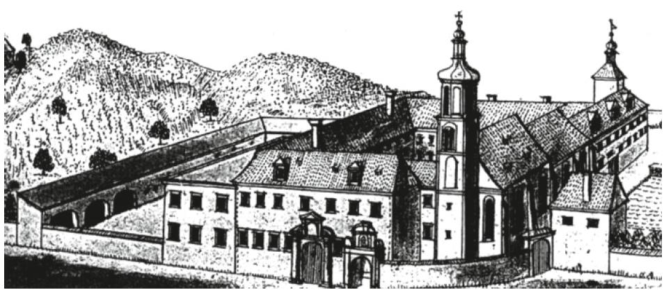 Areál kláštera servitů Na trávníčku po barokních úpravách v polovině 18. století (perokresba Friedricha Bernharda Wernera)