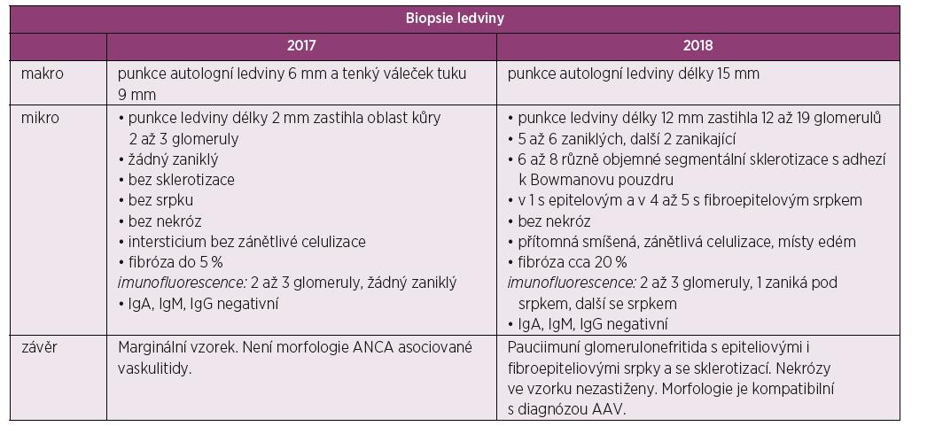 Tabelární znázorněni výsledků biopsie ledvin