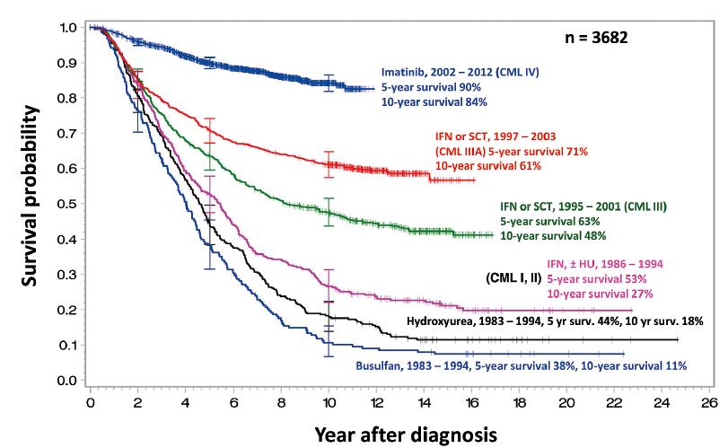 Přežití nemocných léčených v rámci různých studií Německé kooperativní skupiny pro léčbu CML<br> Upraveno podle [18].
