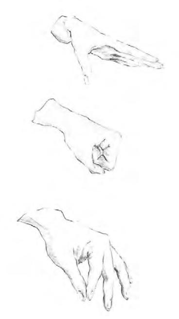 Obr. 3: Ukázka několika pohybů ruky při nácviku artikulace hlásek pomocí FSS