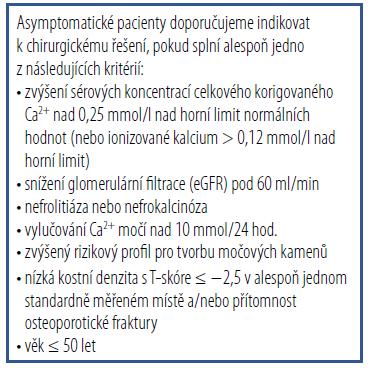 Indikace k chirurgickému řešení u asymptomatických pacientů