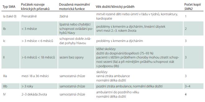 Klasifikace typů a podtypů SMA dle dosaženého stupně motorického vývoje.