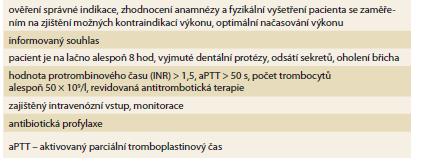 Souhrn opatření před zavedením perkutánní endoskopické gastrostomie.<br> Tab. 1. Summary of measures prior to percutaneous endoscopic gastrostomy introduction.