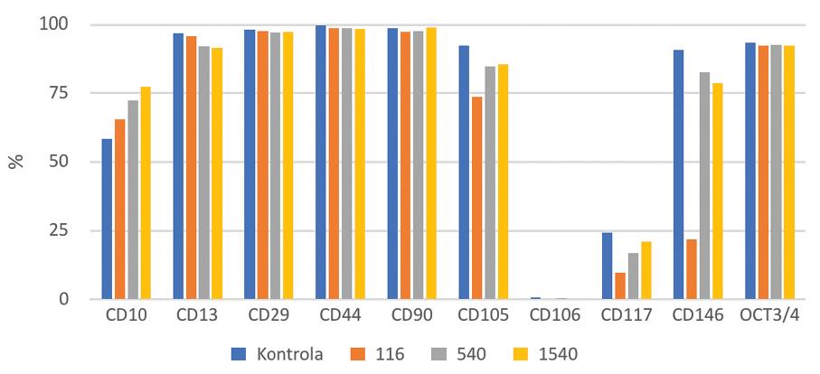 CD pozitivní KBZD v procentech v rámci populace linie 2; KBZD kultivovány v kontrolním médiu (Kontrola), médiu 1 (KH 116), médiu 2 (KH 540) a médiu 3 (KH 1500)<br> Graph 6 Percentage of CD positive DPSCs within the population of the DPSC line 2; DPSCs were cultivated in control medium (Control), medium 1 (HA 116), medium 2 (HA 540) and medium 3 (HA 1500)