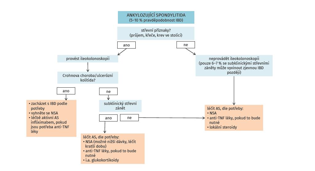 Algoritmus pro péči o pacienty s ankylozující spondylitidou s důrazem na GIT trakt (dle Rudwaleit M, et al. Best Practice Res Clinical Rheumatol 2006; 20(3): 451–471)