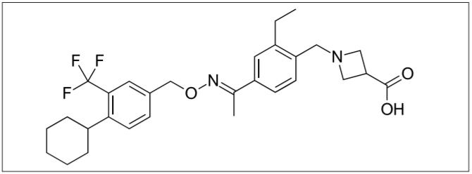BAF312 (1-(4-{1-[(E)-4-cyclohexyl3 – trifl uoromethylbenzyloxyimino]-ethyl}-2- ethylbenzyl)- azetidine-3-carboxylic acid) selektivní modulátor S1P1 a S1P5 receptorů umožňující S1P1 receptorově-závislou modulaci transportu lymfocytů bez mediačního účinku S1P3 receptoru [12].<br> Fig. 1. BAF312 (1-(4-{1-[(E)-4-cyclohexyl-3 – trifl uoromethylbenzyloxyimino]-ethyl}-2- ethylbenzyl)- azetidine-3-carboxylic acid) selective modulator of S1P1 a S1P5 receptors enabling S1P1 receptor-dependent lymphocyte transport without the eff ect of the S1P3 receptor [12].