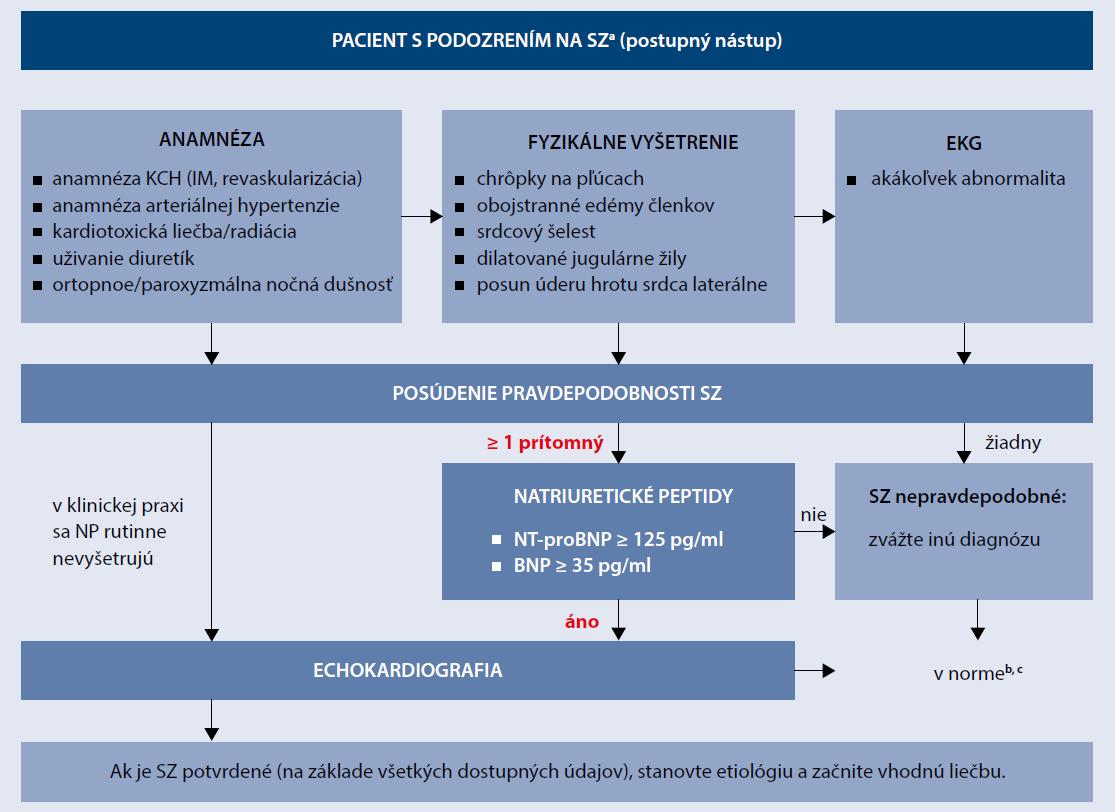 Schéma 2 | Pacient s podozrením na srdcové zlyhávanie – algoritmus pre posudenie rizika