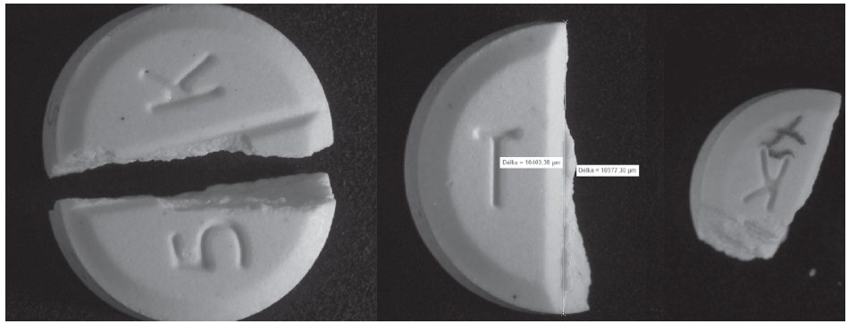 Fig. 1 Example of factors determining halved tablets non-uniformity: misplaced fracture (left), rough fracture plane