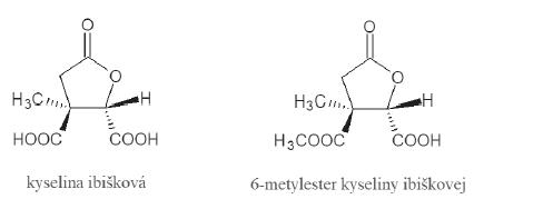 Štruktúra kyseliny ibiškovej a jej 6-metylesteru