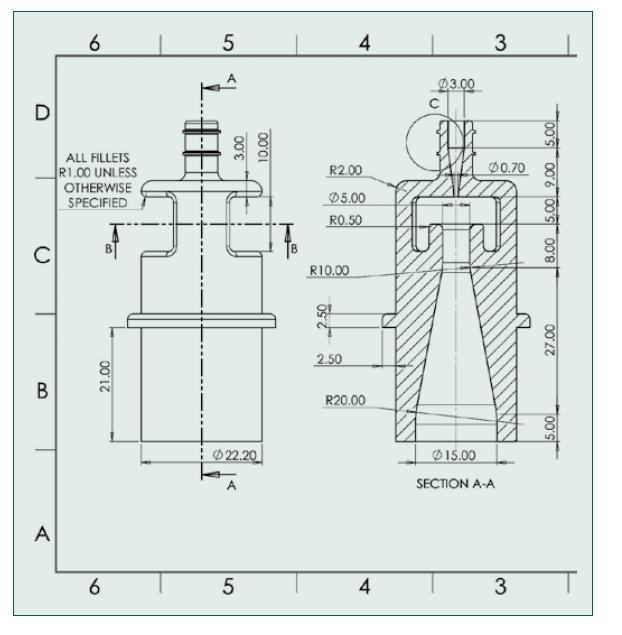Technický nákres Venturiho trysky [4]