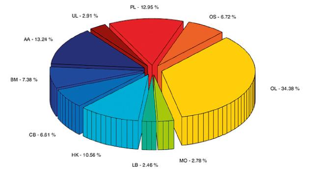 Rozložení náboru mezi jednotlivými centry v letech 2013–2017
