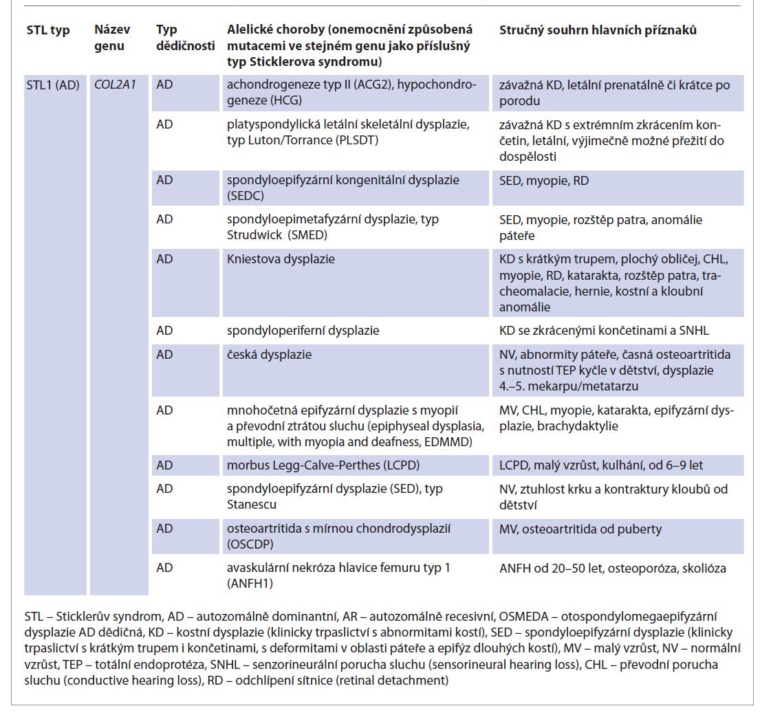 Vybraná onemocnění způsobená poruchami genů spojených se Sticklerovým syndromem (tzv. alelické choroby).<br> Tab. 2. Selected disorders caused by defect of genes associated with Stickler syndrome (so-called allelic disorders).