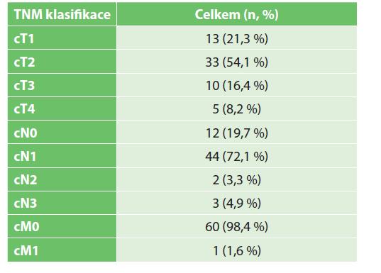 Rozdělení pacientek dle TNM klasifikace před NAC<br> Tab. 1: Distribution of patients according to TNM classification before NAC