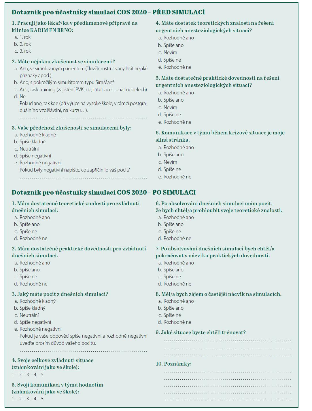 Příloha 2. Dotazník pro účastníky simulací COS 2020