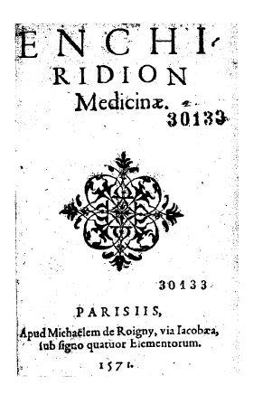 Titulná strana Enchiridion medicinae z roku 1571