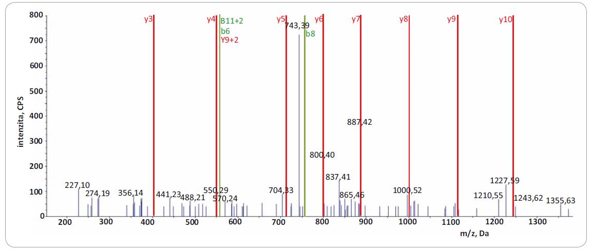 Fragmentační spektrum produktových iontů reprezentující peptid VSGSPEQAVEENLSSYFLDR z proteinu TACC3.