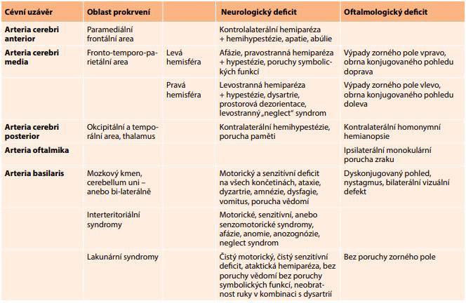 Klinická manifestace cévní mozkové příhody v závislosti na lokalizaci postižení