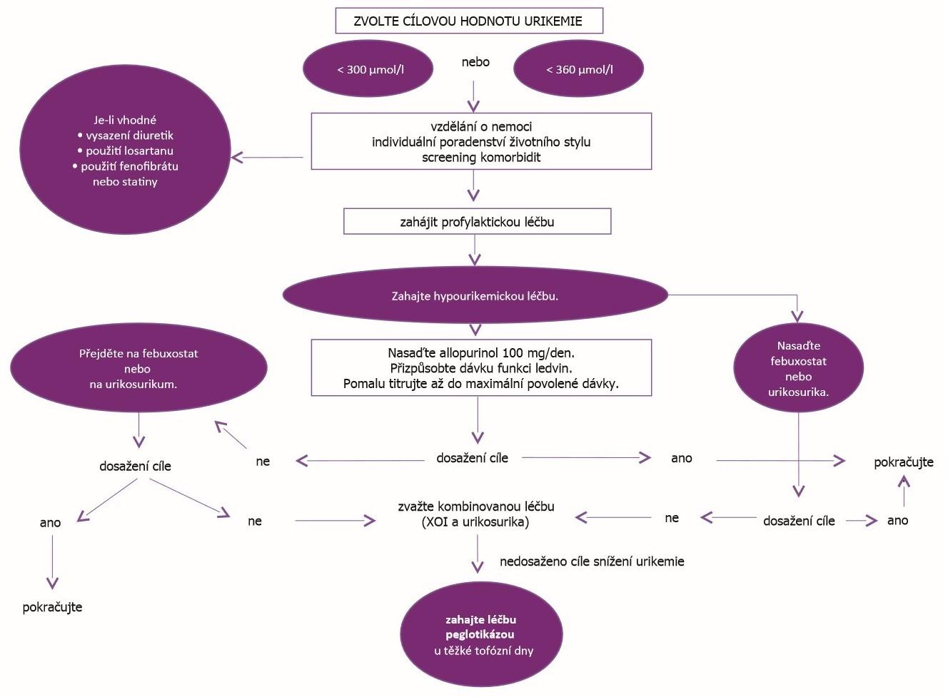 Strategie léčby hyperurikemie dle EULAR (dle Richette P, et al. Ann Rheum Dis 2017; 76: 29–42)