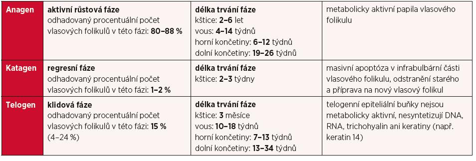 Stadia vlasového cyklu a délka jejich trvání (upraveno, převzato z 3)