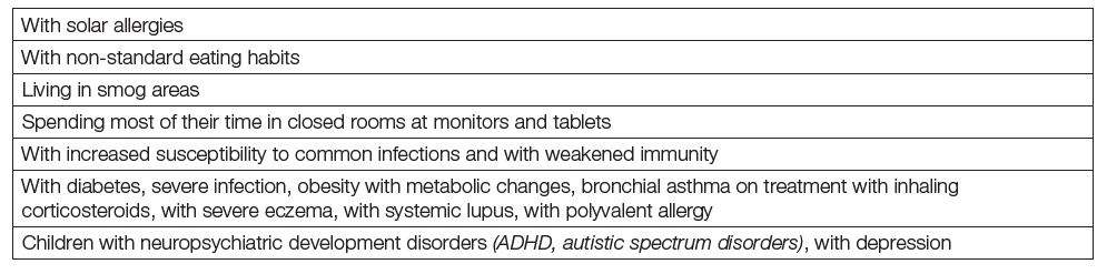 Children older than 1 year potentially or probably at risk (see also Table 5) from vitamin D deficiency with regard to off-bone effects
