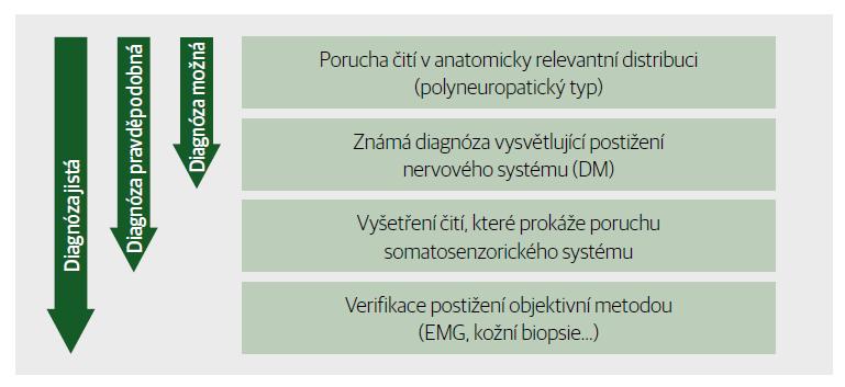 Diagnostika neuropatické bolesti. Diagnóza možná, pravděpodobná a jistá.