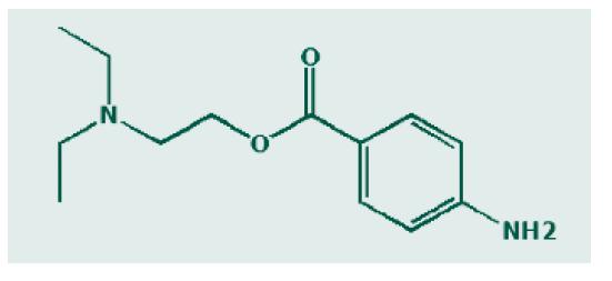 Chemická struktura prokainu. Zdroj: Wikimedia Commons (CC BY 4.0)