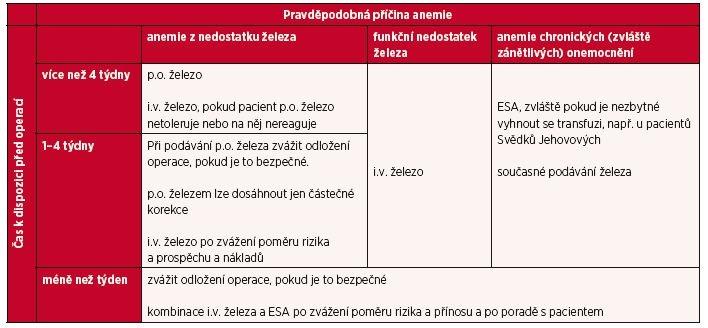 Přehled léčby předoperační anemie podle časové dispozice