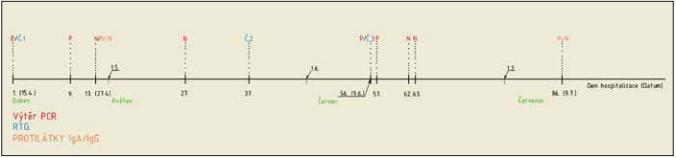 Časová osa ukazující průběh onemocnění pacientky s výsledky vyšetření PCR a serologických vyšetření.<br> Fig. 2. Timeline showing the course of the patient's disease with the results of PCR and serological examinations.