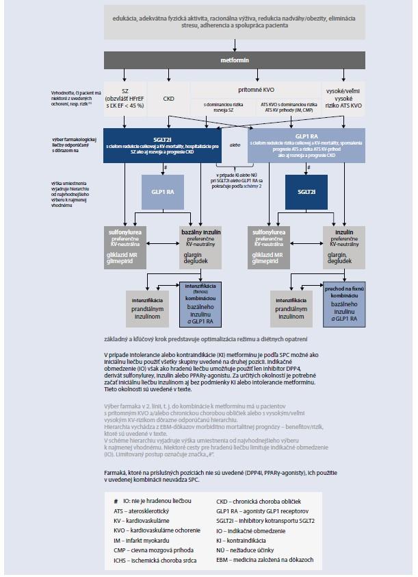 Schéma 3. Odporúčaný teraupetický postup u pacientov s DM2T s vysokým a veľmi vysokým KV-rizikom alebo prítomnou chronickou chorobou obličiek (CKD)
