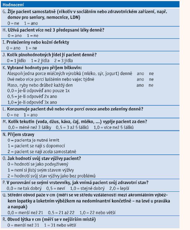 Mini Nutritional Assessment (part B - Full Form) dle Guigoz, 1994.