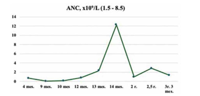 Dynamika ANC u pacienta so SBDS, kazuistika 1.