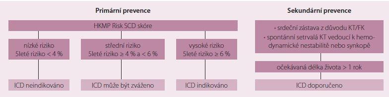 Indikace k implantaci kardioverter-defi brilátoru dle stratifi kace rizika náhlé srdeční smrti. Upraveno dle [23]. KT – komorová tachykardie, FK – fi brilace komor, ICD – implantabilní kardioverter-defi brilátor, HKMP – hypertrofi cká kardiomyopatie
