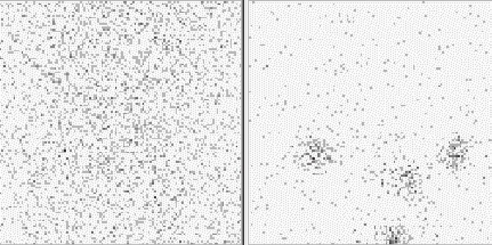 Obr. 1a Scintigram krku po dg. aplikaci 20 MBq <sup>131</sup>I – bez reziduální tyreoidální tkáně. Vysvětlivky: vlevo nativní scintigram, vpravo značení – scintigram stejné oblasti se značkou v místě jugula a nad ním značení jizvy po nTTE.