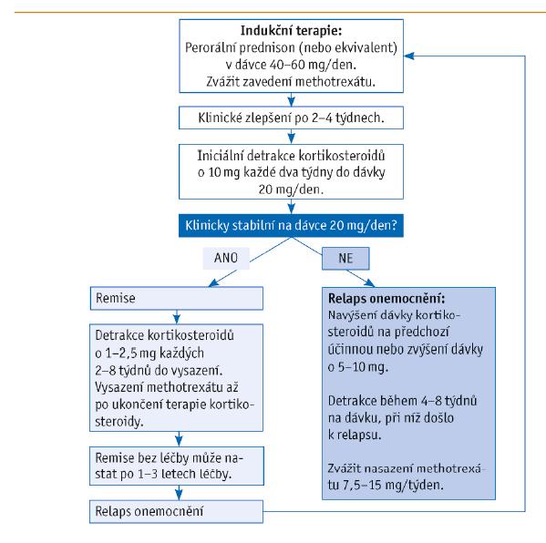 Algoritmus léčby obrovskobuněčné arteriitidy (převzato z Buttgereit et al., 2016)