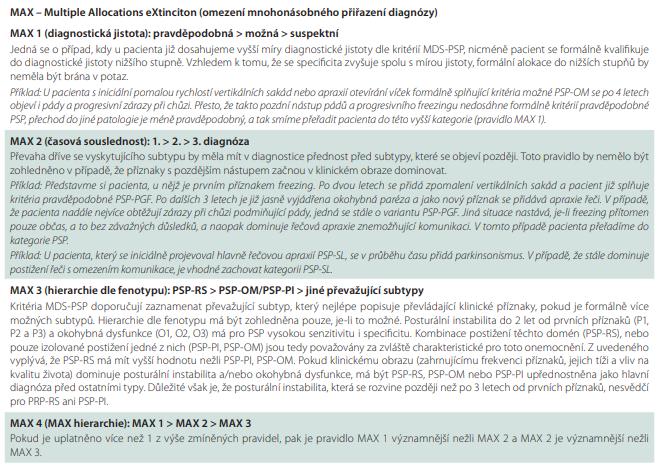 Upřesnění uplatnění diagnostických kritérií MDS pro PSP 2017.