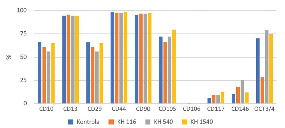 CD pozitivní KBZD v procentech v rámci populace linie 1; KBZD kultivovány v kontrolním médiu (Kontrola), médiu 1 (KH 116), médiu 2 (KH 540) a médiu 3 (KH 1500)<br> Graph 5 Percentage of CD positive DPSCs within the population of the DPSC line 1; DPSCs were cultivated in control medium (Control), medium 1 (HA 116), medium 2 (HA 540) and medium 3 (HA 1500)