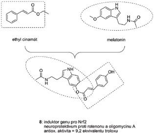 Hybridní struktura 8 na bázi melatoninu a ethylesteru kyseliny skořicové