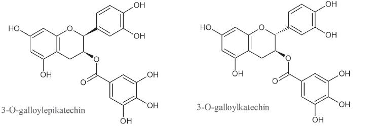 Štruktúra trieslovín zo zeleného čaju s inhibičným účinkom na α-amylázu